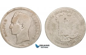 AB417, Venezuela, 50 Centavos 1873-A, Paris, Silver, Good with few scratches, Rare!