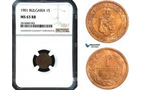 AB422, Bulgaria, Ferdinand, Stotinka 1901, Paris, NGC MS63RB