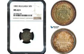 AB423, Bulgaria, Alexander, 50 Stotinki 1883, St. Petersburg, Silver, NGC MS62+