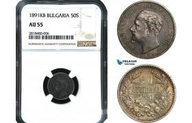 AB424, Bulgaria, Ferdinand, 50 Stotinki 1891 KB, Kremnitz, Silver, NGC AU55