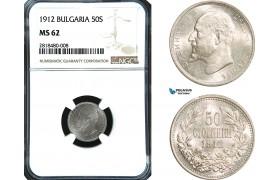 AB426, Bulgaria, Ferdinand, 50 Stotinki 1912, Silver, NGC MS62