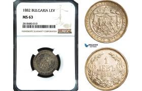 AB428, Bulgaria, Alexander, 1 Lev 1882, St. Petersburg, Silver, NGC MS63