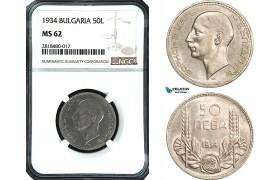 AB432, Bulgaria, Boris III, 50 Leva 1934, Silver, NGC MS62