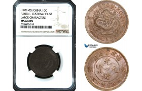 "AB434, China, Fukien, ""Custom House"" 10 Cash ND (1901-05) Large Characters, NGC MS64BN"
