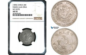 AB435, China, Fukien, 20 Cents 1896, Silver, L&M 296A No dots, NGC AU55