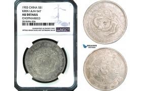 "AB441, China, Kirin, 7 Mace 2 Candareens (Dollar) 1903, Silver, L&M 547, NGC AU Details ""Chopmark"""