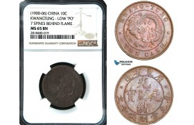 "AB442, China, Kwangtung, 10 Cash ND (1900-06) Low ""PO"" 7 Spines behind Flame, NGC MS65BN, Pop 1/0"