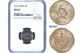 AB446, Cuba, 5 Centavos 1915, NGC MS64