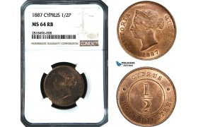 AB447, Cyprus, Victoria, 1/2 Piastre 1887, London, NGC MS64RB