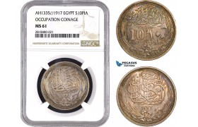 AB449, Egypt (Occupation Coinage) 10 Piastres AH1335 (1916) Silver, NGC MS61