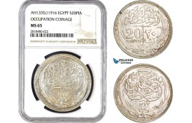 AB450, Egypt (Occupation Coinage) 20 Piastres AH1335 (1916) Silver, NGC MS65, Pop 2/0