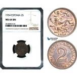 AB451, Estonia, 2 Senti 1934, NGC MS64BN