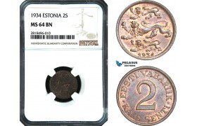 AB451, Estonia, 2 Senti 1934, NGC MS64BN