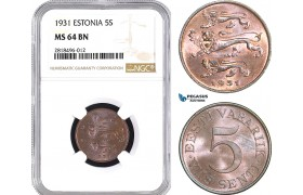 AB453, Estonia, 5 Senti 1931, NGC MS64BN