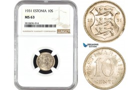 AB454, Estonia, 10 Senti 1931, NGC MS63