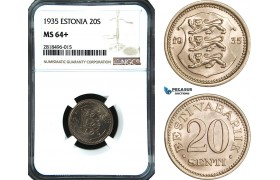 AB455, Estonia, 20 Senti 1935, NGC MS64+