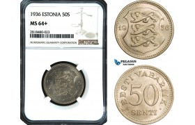 AB457, Estonia, 50 Senti 1936, NGC MS64+