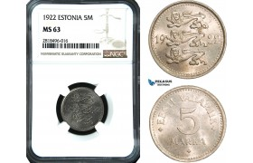 AB458, Estonia, 5 Mark 1922, NGC MS63