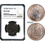 AB463, France, Napoleon III, 10 Centimes 1853-BB, Strasbourg, NGC MS65BN, Pop 2/0