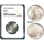 AB467, France, Third Republic, 2 Francs 1914-C, Castelsarrasin, Silver, NGC MS65+
