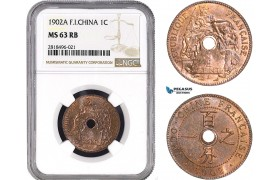 AB470, French Indo-China, 1 Centime 1902-A, Paris, NGC MS63RB