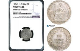 AB471, French Indo-China, 10 Centimes 1894-A, Paris, Silver, NGC UNC Details