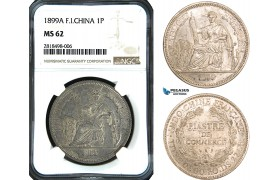 AB472, French Indo-China, Piastre 1899-A, Silver, NGC MS62, Pop 1/1