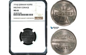 AB473, Germany (Military coinage) East Prussia, 1 Kopek 1916-J, Hamburg, NGC MS65, Pop 1/0