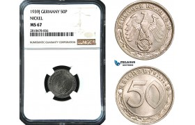 AB474, Germany, Third Reich, 50 Reichspfennig 1939-J, Hamburg, Nickel, NGC MS67, Pop 1/0