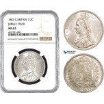 AB476, Great Britain, Victoria, 1/2 Crown 1887 (Jubilee Head) London, Silver, NGC MS63