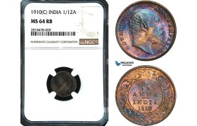 AB478, India, Edward VII, 1/12 Anna 1910 (C) Calcultta, NGC MS64RB