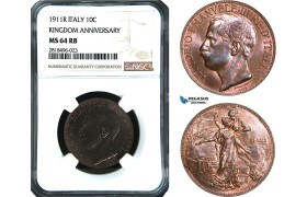 AB482, Italy, Vit. Emanuela III, Kingdom Anniversary, 10 Centesimi 1911-R, Rome, NGC MS64RB