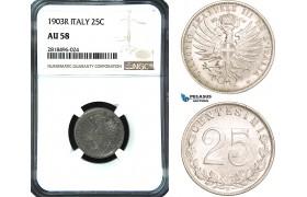 AB483, Italy, Vit. Emanuela III, 25 Centesimi 1903-R, Rome, NGC AU58