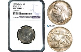 AB484, Italy, Vit. Emanuela III, 10 Lire 1927-R, Rome, NGC UNC Details
