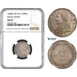 AB485, Italy, Papal, Gregory XVI, 20 Baiocchi 1838 VIII-B, Bologna, Silver, NGC MS62, Pop 1/0