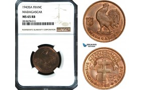 AB486, Madagascar, 1 Franc 1943-SA, NGC MS65RB, Pop 1/0