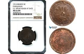 AB489, Mexico, Revolutionary, Chihuahua, 5 Centavos 1914, NGC MS62BN