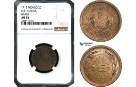 AB490, Mexico, Revolutionary, Chihuahua, 2 Centavos 1913, Brass, NGC AU58, Pop 1/0, Rare!