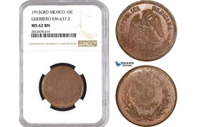 AB492, Mexico, Revolutionary, Guerrero, 10 Centavos 1915-GRO, KM-637.3, NGC MS62BN, Pop 1/0