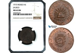 AB494, Mexico, Revolutionary, Jalisco, 5 Centavos 1915, NGC MS63BN