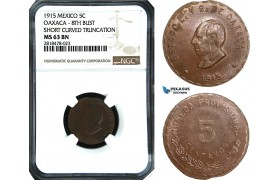 AB496, Mexico, Revolutionary, Oaxaca, 5 Centavos 1915, NGC MS63BN, Pop 1/0