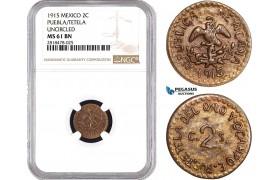AB498, Mexico, Revolutionary, Puebla/Tetela, 2 Centavos 1915, NGC MS61BN
