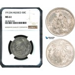 AB499, Mexico, 50 Centavos 1912-M, Mexico City, Silver, NGC MS61