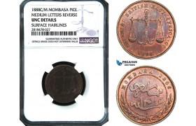 AB500, Mombasa, Pice 1888 C/M, Calcutta, NGC UNC Details