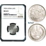 AB501, Latvia, 1 Lats 1924, Silver, NGC MS63+