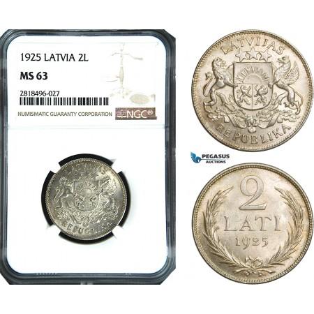 AB503, Latvia, 2 Lati 1925, Silver, NGC MS63