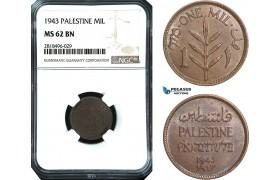 AB504, Palestine, 1 Mil 1943, London, NGC MS62BN