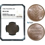 AB505, Palestine, 2 Mils 1942, London, NGC MS63BN