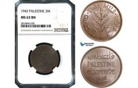 AB505, Palestine, 2 Mils 1942, London, NGC MS63BN