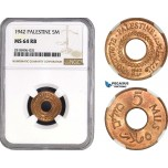 AB506, Palestine, 5 Mils 1942, London, NGC MS64RB